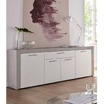 Gray-white wide chest of drawers with 4 doors and 1 drawer (creek) (whole, in box)
