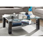 Black glass coffee table (with beauty defects, in a box)