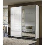 Valkoinen peili ja liukuva vaatekaappi (leveys 250cm) (täynnä, laatikko)