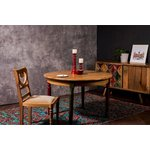 Brown solid wood round dining table (fiore) (whole, sample hall)
