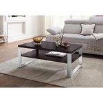 Tummanruskea sohvapöytä metallikehyksellä (laatikossa, kauneusvikoilla)