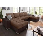 Brown angular sofa bed (with beauty defects, in box)