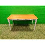 3 Drawer Brown-White Solid Wood Table