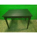 Black large solid wood table with 2 drawers