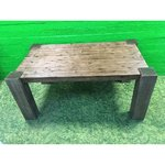 Large dark brown dining table with acacia wood