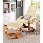 Balts ādas grozāms krēsls ar tabureti (vesels, paraugu zāle)