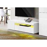 Valkoinen, kiiltävä tv-kaappi (leveys 130cm) (vasen)