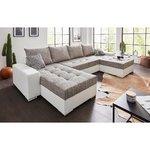 Balti pelēks stūra dīvāns (vesels, kastē)