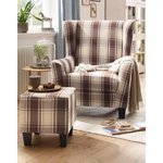 Beige-brown checkered armchair with stool (whole, sample hall)