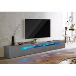 Gray high gloss wide TV cabinet (width 260 cm) (with beauty flaws, hall sample)