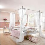 White metal canopy bed (thora) (180x200cm)