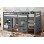 Gray solid wood bunk bed (1 seater) (alpine)
