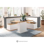 White-brown solid wood dining table (sara) (whole)