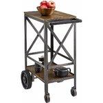 Коричнево-серый сервировочный столик на колесиках