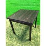 Черный обеденный стол с массивной древесиной