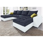 Black and white corner sofa (in a box, with beauty defects)