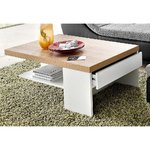 White-brown coffee table with drawer (with beauty defects, sample of the hall)
