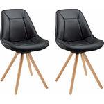 Mel Dining Chair black PU / solid oak / set of 2