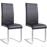 Cara Dining Chair black PU / chrome / set of 2