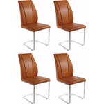 Claudia chair 6xcognac/chrome