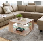 Light Brown Wheeled Sofa Table LED Light (Raum.id) (Full, Sample Display)