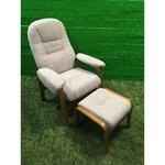 Beige wooden chair with armchair