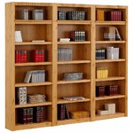 Large light brown solid wood bookcase (with defects in box)