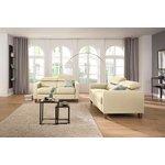 Light Creamy Full Leather Sofa (Lucerne) (whole, sample hall)