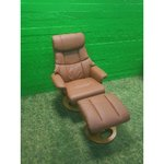 Brown leather swing armchair