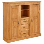 Light brown solid wood chest of drawers with 3 drawers and 2 doors