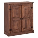 Dark brown solid wood chest of drawers with 2 doors