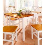 White-Brown Solid Wood Extendable Dining Table (Full Box)