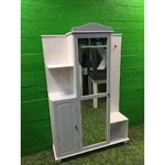 White solid wood front cover with mirrored door
