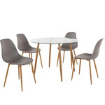 Mingu set Round table-Light Grey Plastic