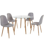 Mingu set Round table - Light Grey Fabric