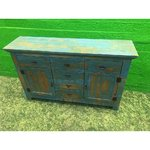 Green rustic style chest of solid wood