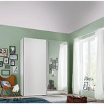 Wardrobe with white mirror and sliding doors (width 150cm) (box, mirror broken)