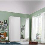 Vaatekaappi valkoisella peilillä ja liukuovilla (leveys 150cm) (kokonainen, laatikossa)