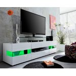 White TV cabinet with 2 glass doors (169cm wide) (sonic) (with beauty defects, in box)