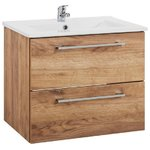Brown 2-drawer washbasin cabinet (with sink) (intenso) (whole, in box)