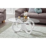 White coffee table with glass (in box, whole)