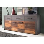 Dark brown-gray chest of drawers (178cm wide) (indy) (with bugs in the box)