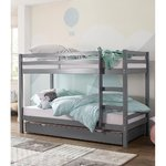 Gray solid wood bunk bed with extra bed (alpine)