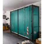 Green wardrobe with sliding doors (width 250cm) (whole, in box)