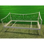 White narrow bedding frame made of metal 90x200