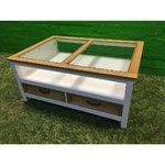 Белый твердый деревянный диван-стол со стеклом и 2 ящиками
