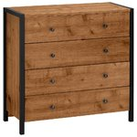Brown-black dresser with 4 drawers