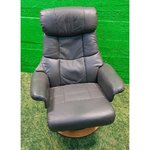 Gray full leather armchair