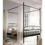Black metal canopy bed 180x200