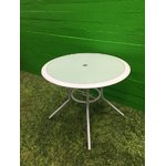 Round metal table with glass plate, white